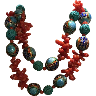 Chinese Red Coral Enamel Shou Longevity & Turquoise Necklace