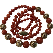 14k Natural Red Coral Necklace