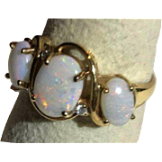 Fiery 10k Genuine 3 Opal & Diamond Ring All Rainbow Color Display