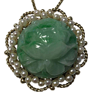 Large 14k Genuine Natural Green Jade Lotus and Crane Coin Pendant Brooch With Pearls