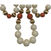 14k Angel Skin & Rosie Salmon Coral Necklace