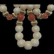 14k Angel Skin & Rosie Salmon Coral Necklace