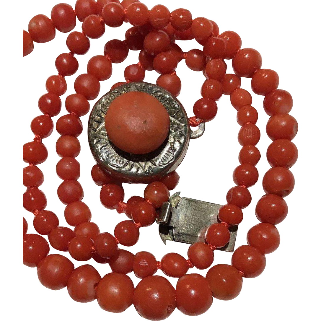 Old Sterling Red Coral Necklace