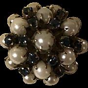 Estate Ring Large 14k Pearl & Sapphire