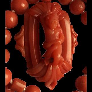 14k Natural Coral Carved Cherub pendant Necklace