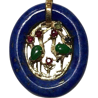 14k Lapis Jade Ruby & Sapphire Pendant