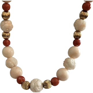 Large Blush Coral & Dark Salmon Momo Coral With Carved Blush Coral 14k Necklace