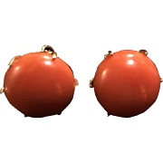 Stunning Antique Dark Salmon Coral Button Earrings 14k