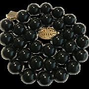 14k GUMP'S 13mm Black Nephrite Jade Necklace