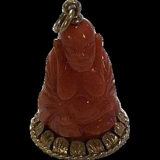 Rare Seymour Moss (MOBA) 14k Carved Coral Buddha Pendant