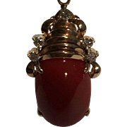 14k Large Oxblood Coral & Diamond Pendant