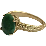 Solid 14k Early Signed Krementz Vivid Green Chrysoprase Ring