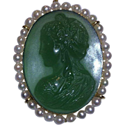 18k Carved Chrysoprase & Pearl Cameo Pendant Brooch