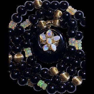 Stunning Estate  14k Genuine Opal & Onyx Pendant Necklace