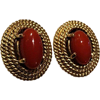 14k Natural Red Coral Earrings