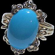 14k Genuine Sleeping Beauty Turquoise Ring