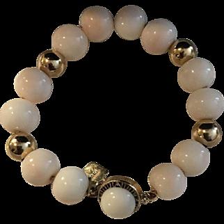 11-12mm Blush Angel Skin Coral Bracelet 14k Yellow Gold