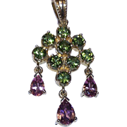 Green & Pink Tourmaline Lavalier Pendant 14k Yellow Gold