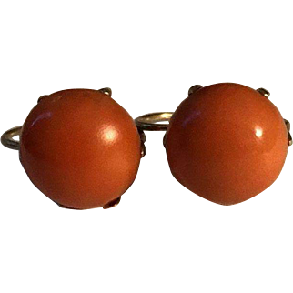 RARE 14k Victorian French Dormeuse Large Dark Salmon Coral Button Earrings