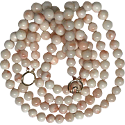 73 Grams Angel Skin Coral Double Strand Necklace
