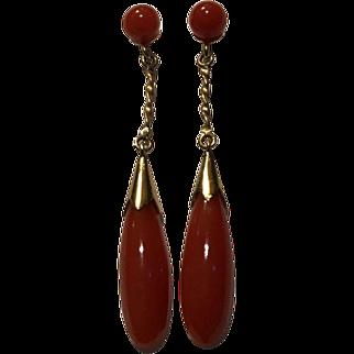 Genuine Oxblood Red Coral Drop Earrings 14k