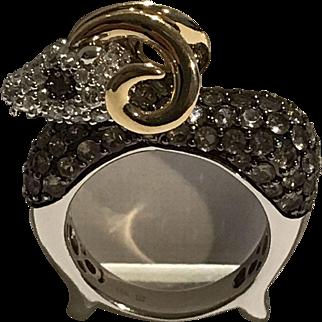 14k Diamond Designer Ram Ring
