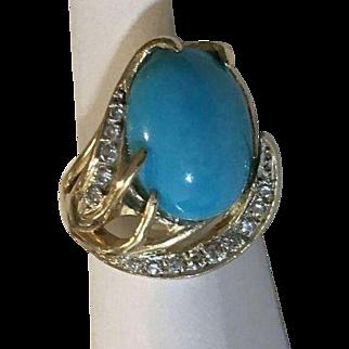 14k Diamond Genuine Sleeping Beauty Turquoise Ring