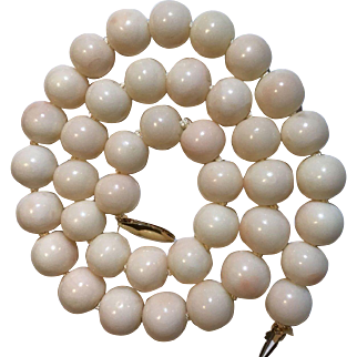 83Grams 12-11mm 14k Genuine Natural Angel Skin Coral Necklace