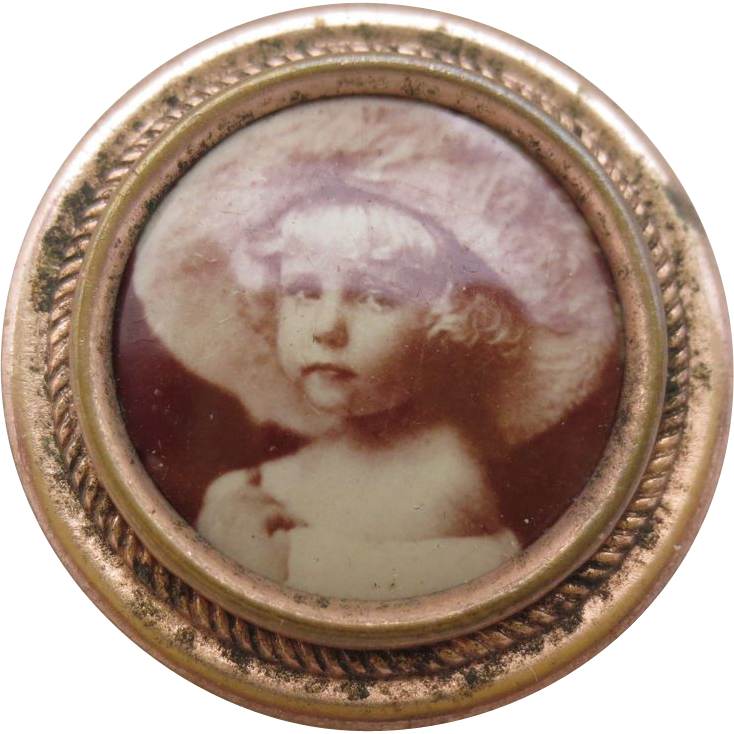 Vintage Photo Pin of a Beautiful Girl in a Big Picture Hat, circa 1910
