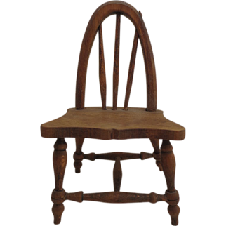Vintage Handmade Wooden Miniature Chair