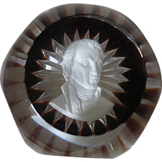 Baccarat's Sulphide Paperweight in Limited Edition Portraying James Monroe