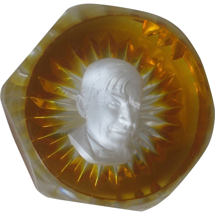 Baccarat's Sulphide Paperweight in Limited Edition Portraying Will Rogers