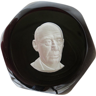 Baccarat's Sulphide Paperweight in Limited Edition Portraying Adlai E. Stevenson
