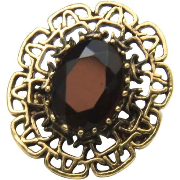 Vintage Gold-Tone & Red Glass Sarah Coventry Brooch Retro Bombshell Jewelry Pin
