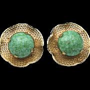 Vintage Accessocraft NYC Green Czech Glass Screw Back Earrings Bombshell Retro