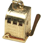 Vintage 60s 14k Solid Gold Slot Machine Charm Working Mechanical Gambling Vegas