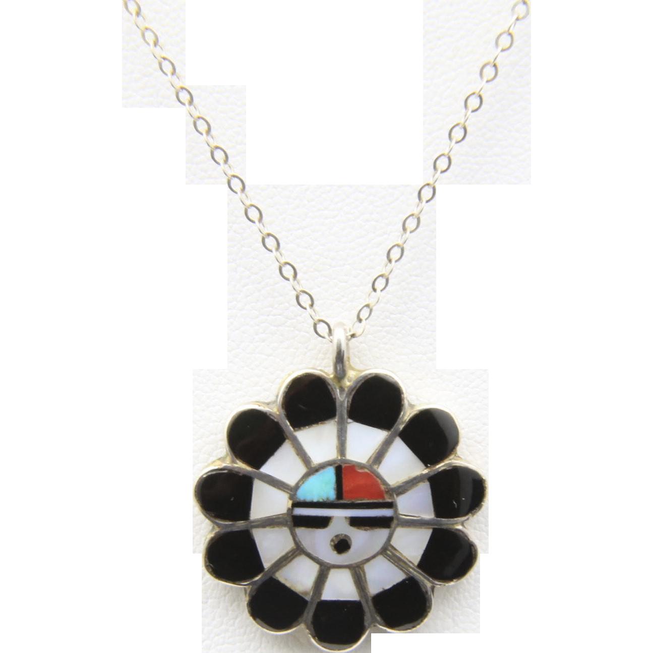 Vintage Zuni Sunface God Pendant Necklace Onyx Turquoise  Coral Sun Face Inlay