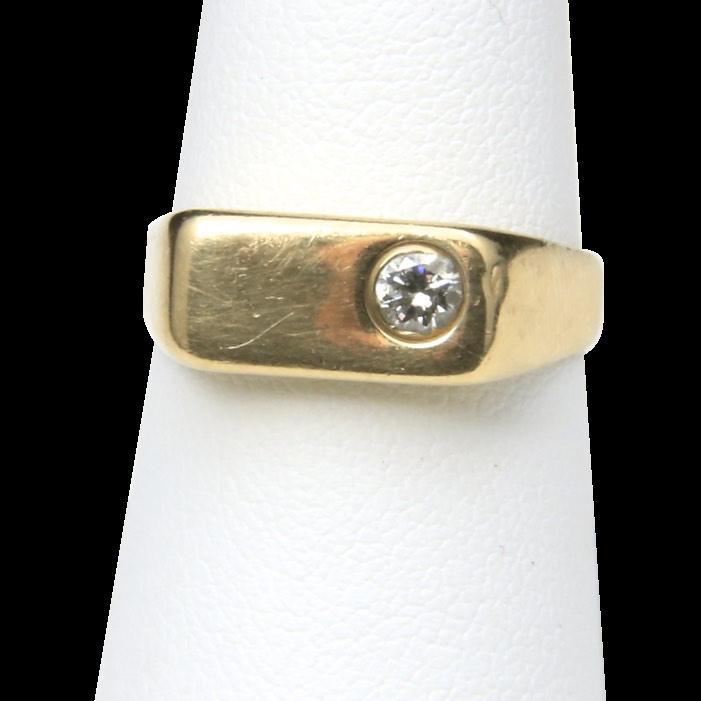 Vintage 14k Yellow Gold & Diamond Ring Modern Style Band  Size 8.25 Unisex