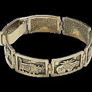 Vintage Navajo Sterling Silver Panel Bracelet Animal Motif By Roderick Tenorio