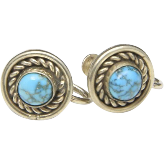 Vintage Sterling Silver and Turquoise Round Screw-Back Earrings Circle Button