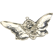 Vintage Art Nouveau Style Lady Girl Face Butterfly Wing Fairy Silver Pendant
