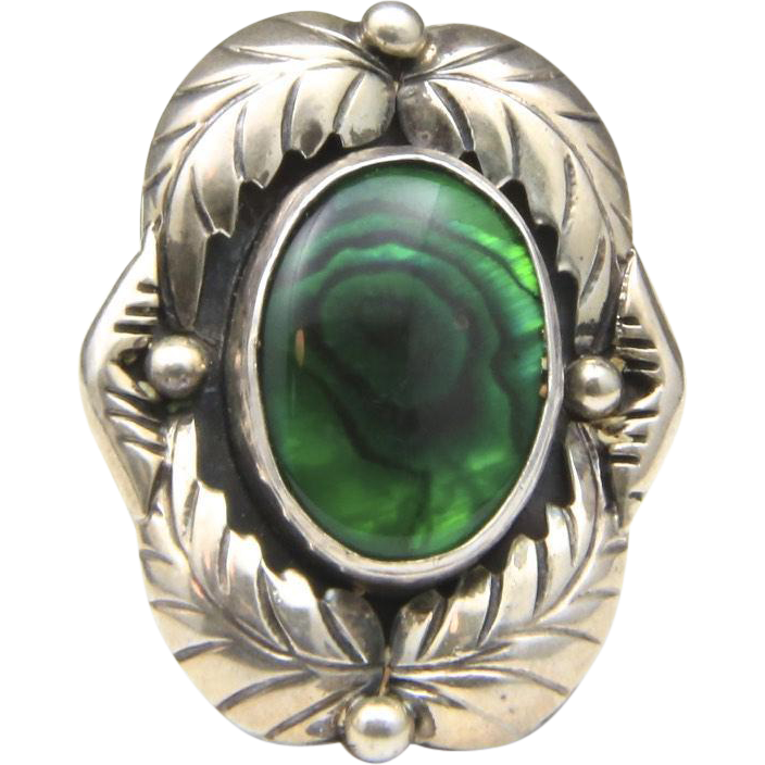 Vintage Navajo Green Dyed Abalone & Sterling Silver Ring Signed Sz 7 Men's Signed Native American Artisan