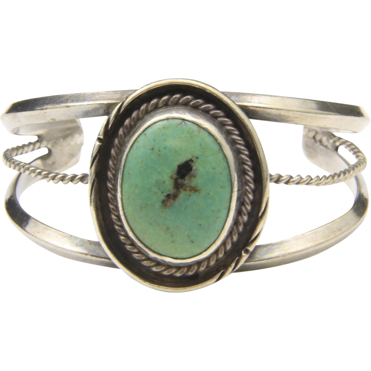 Vintage Sterling SIlver & Green Turquoise Southwestern Style Cuff Bracelet