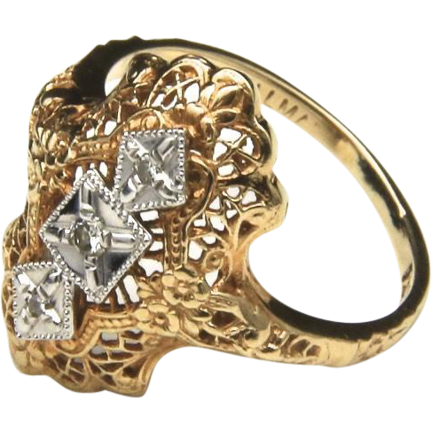 Vintage Art Deco Style 10k Gold & Diamond Ring Intricate Detail Design Sz 7
