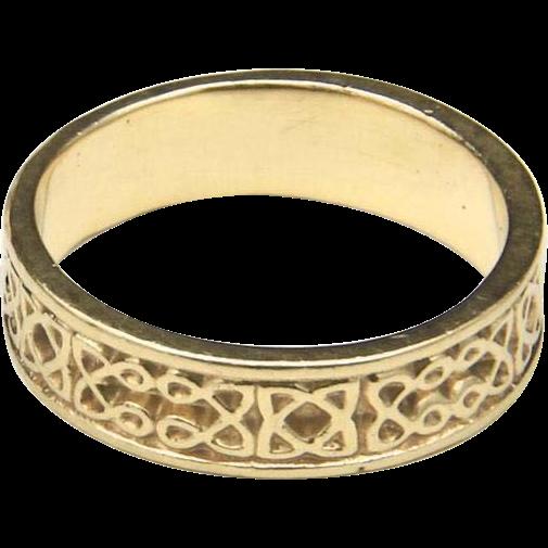 Vintage Celtic Knot 14k Yellow Gold Wedding Band Ring Sz 7.75