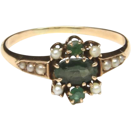 Vintage 10k Yellow Gold Green Gemstone & Seed Pearl 1920s Ring Sz 7