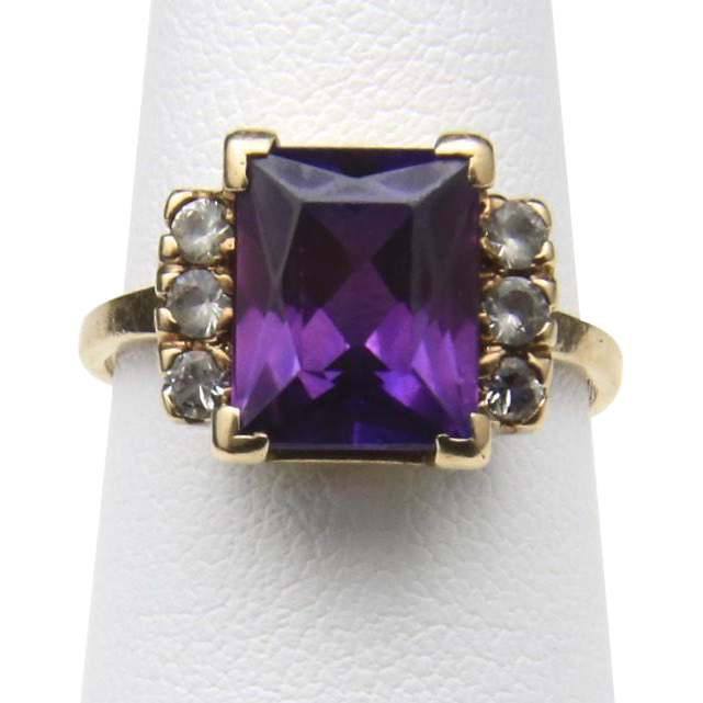 Vintage 10k Yellow Gold Purple Spinel & Rhinestone Ring Sz 6