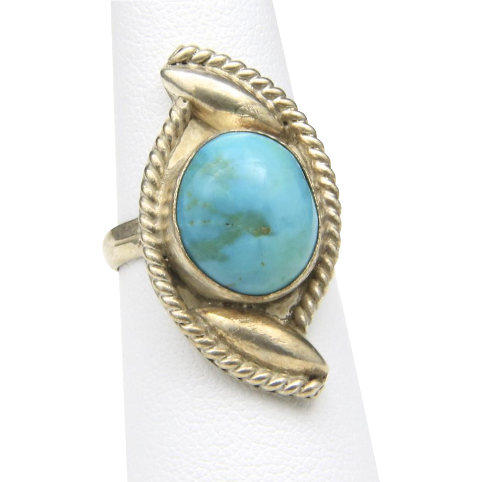 Vintage Sterling Silver & Turquoise Ring Southwestern Style Sz 7
