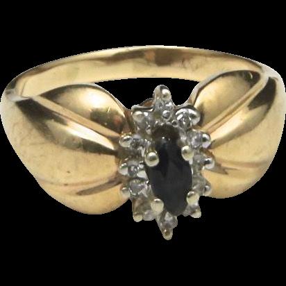 Vintage 10k Yellow Gold Sapphire & Diamond Ring Large Shoulders Sz 8