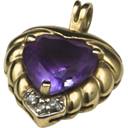Vintage Amethyst & Diamond Heart Pendant 10k Yellow Gold Love Romance Gift